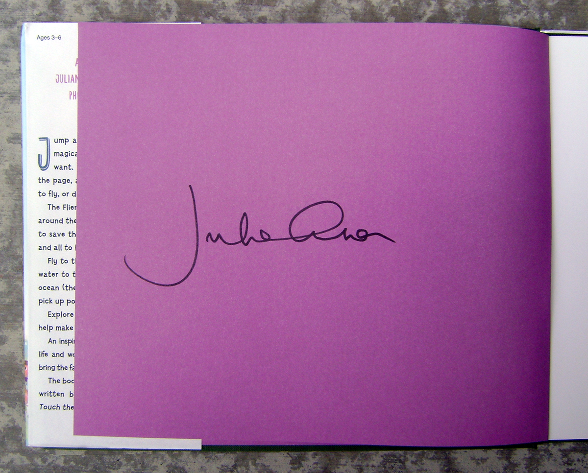 Book - Julian Lennon - Touch The Earth - Signature Page