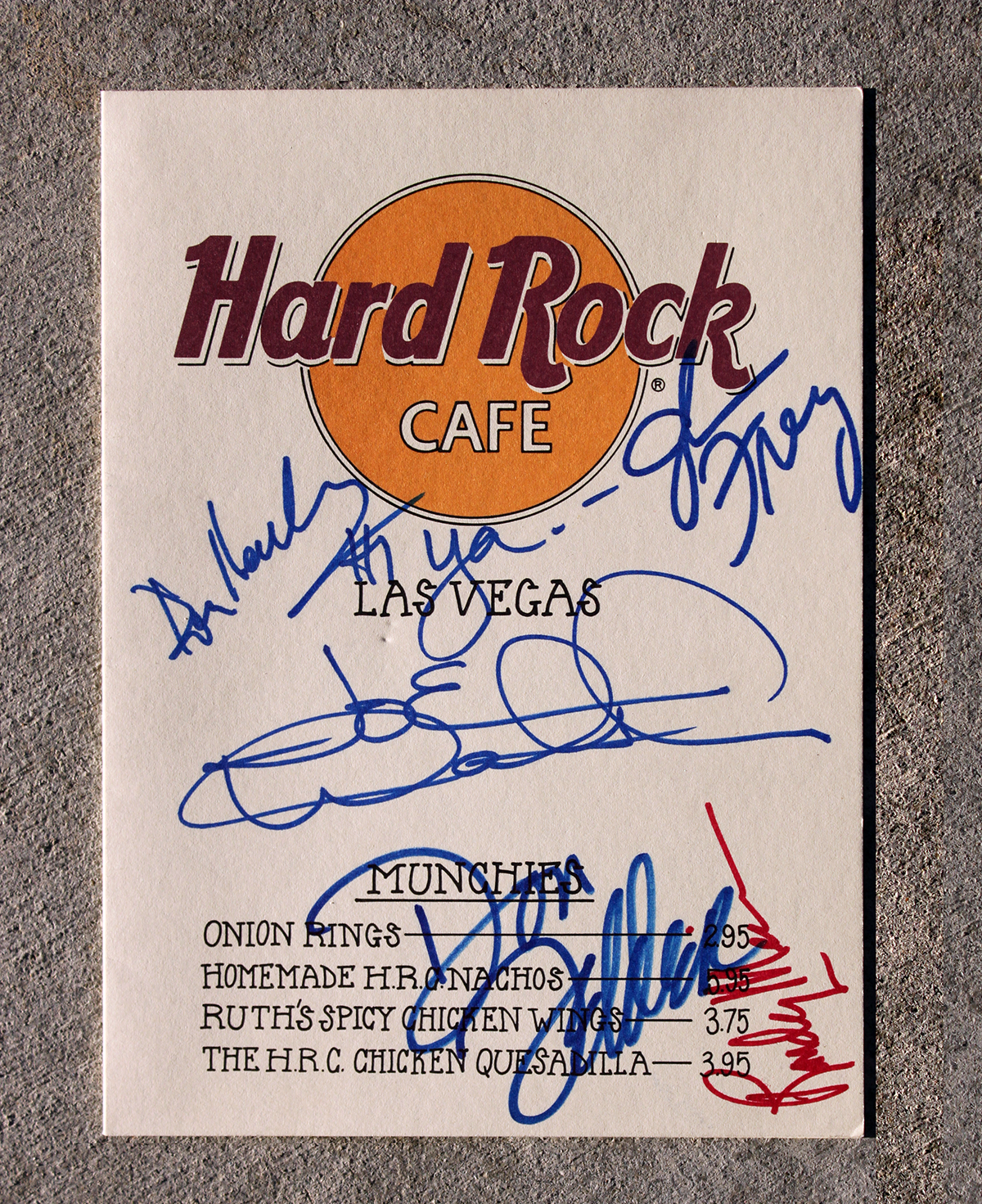 Eagles - Hard Rock Café Menu