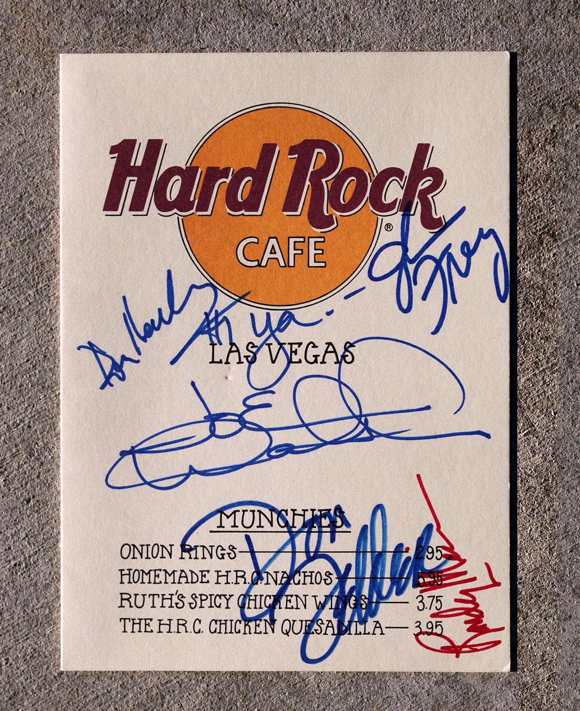 Eagles - Hard Rock Café Menu