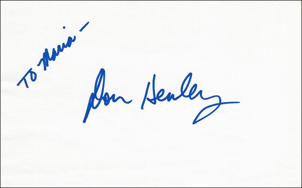 Don Henley - Index Card #1