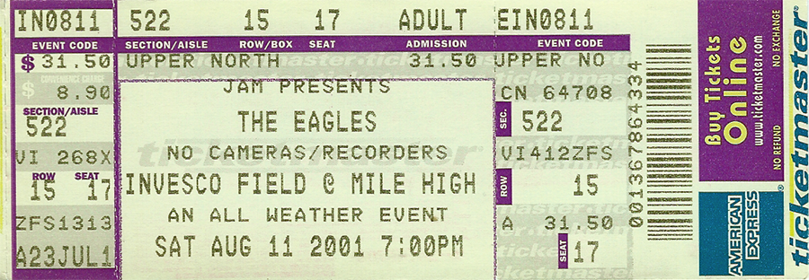 Eagles Concert Ticket