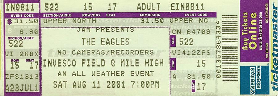 Eagles Concert Ticket