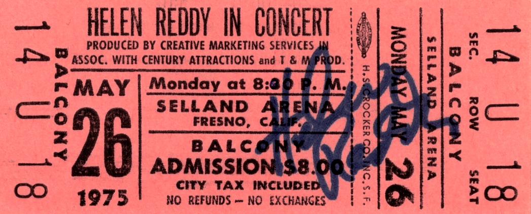 Concert Ticket - Helen Reddy