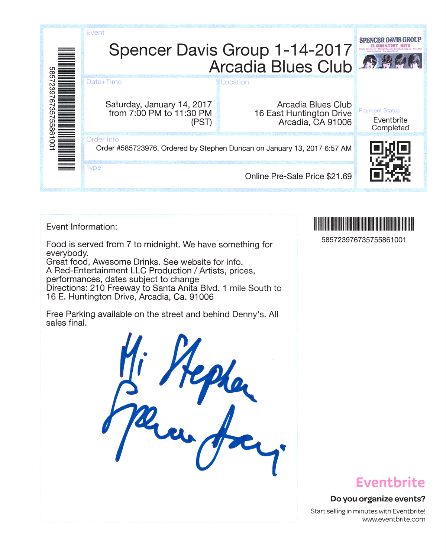 Spencer Davis Online Ticket #2