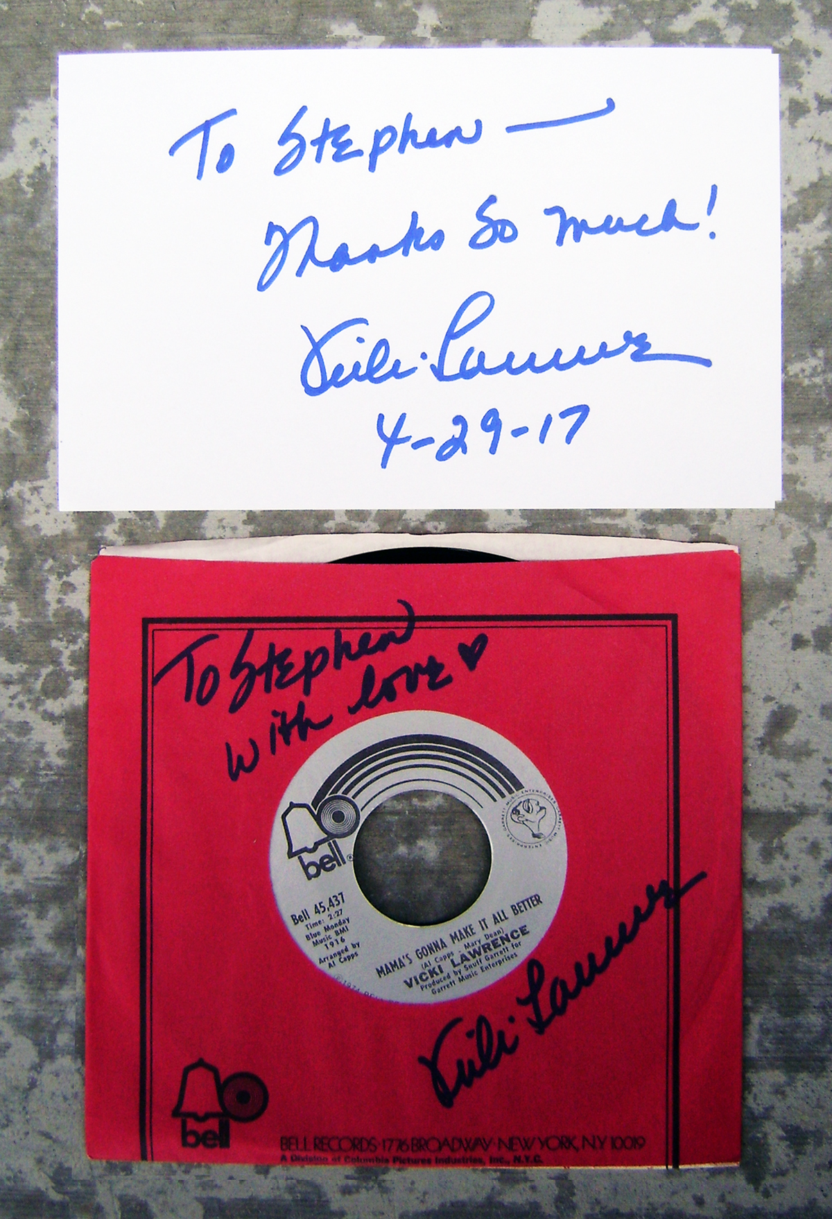 Index Card and 45rpm - Vicki Lawrence