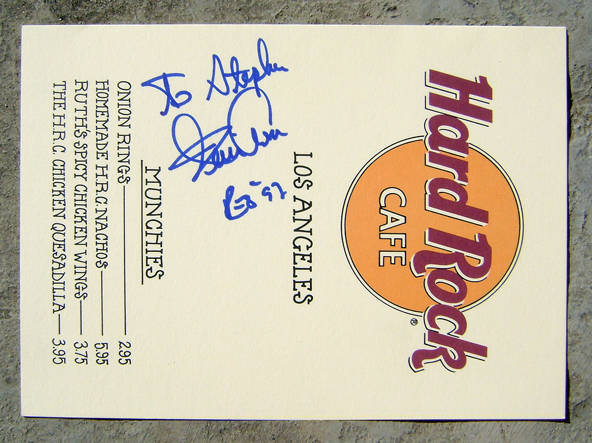 Hard Rock Cafe Menu - Kevin Cronin