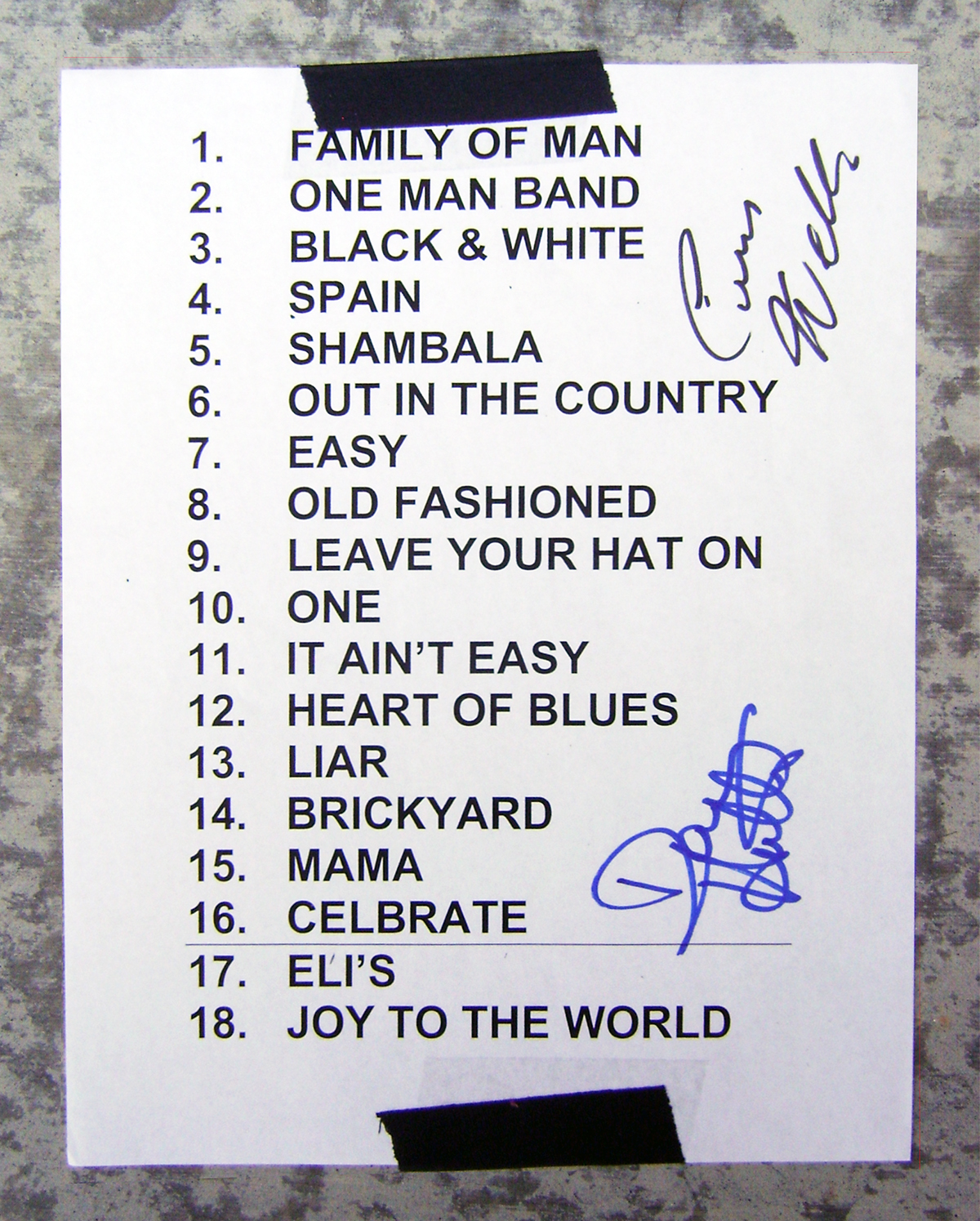 Set List - 3 Dog Night