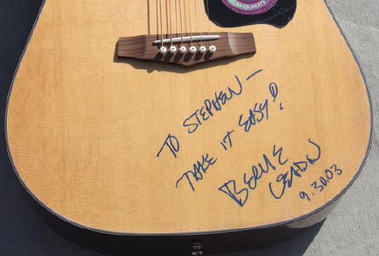 Bernie Leadon signed guitar - inset