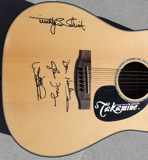 Eagles Official signed guitar - inset