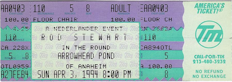Concert Ticket - Rod Stewart #1