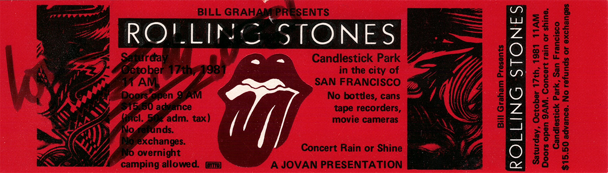 Promo Rolling Stones Tickets From The 1981 Tattoo You Tour Each Signed By Keith Richards During October Of 1989 Steel Wheels Stop In LA