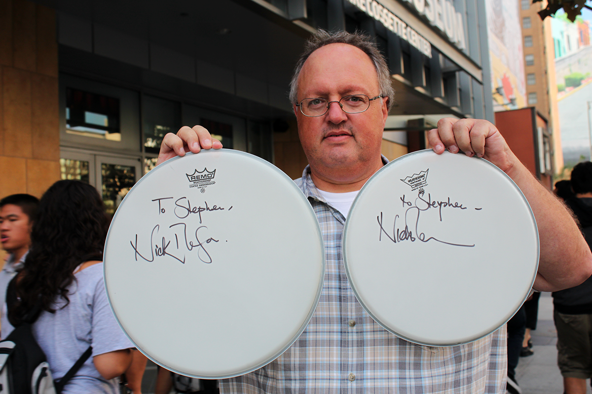 Photo - Stephen Duncan w Nick Mason Drumheads
