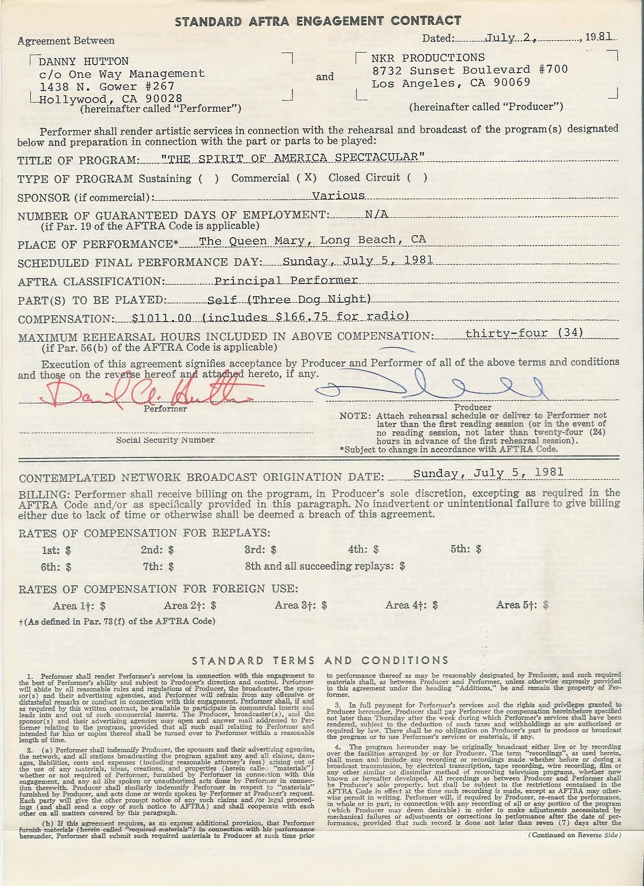 Danny Hutton Contract Page 1