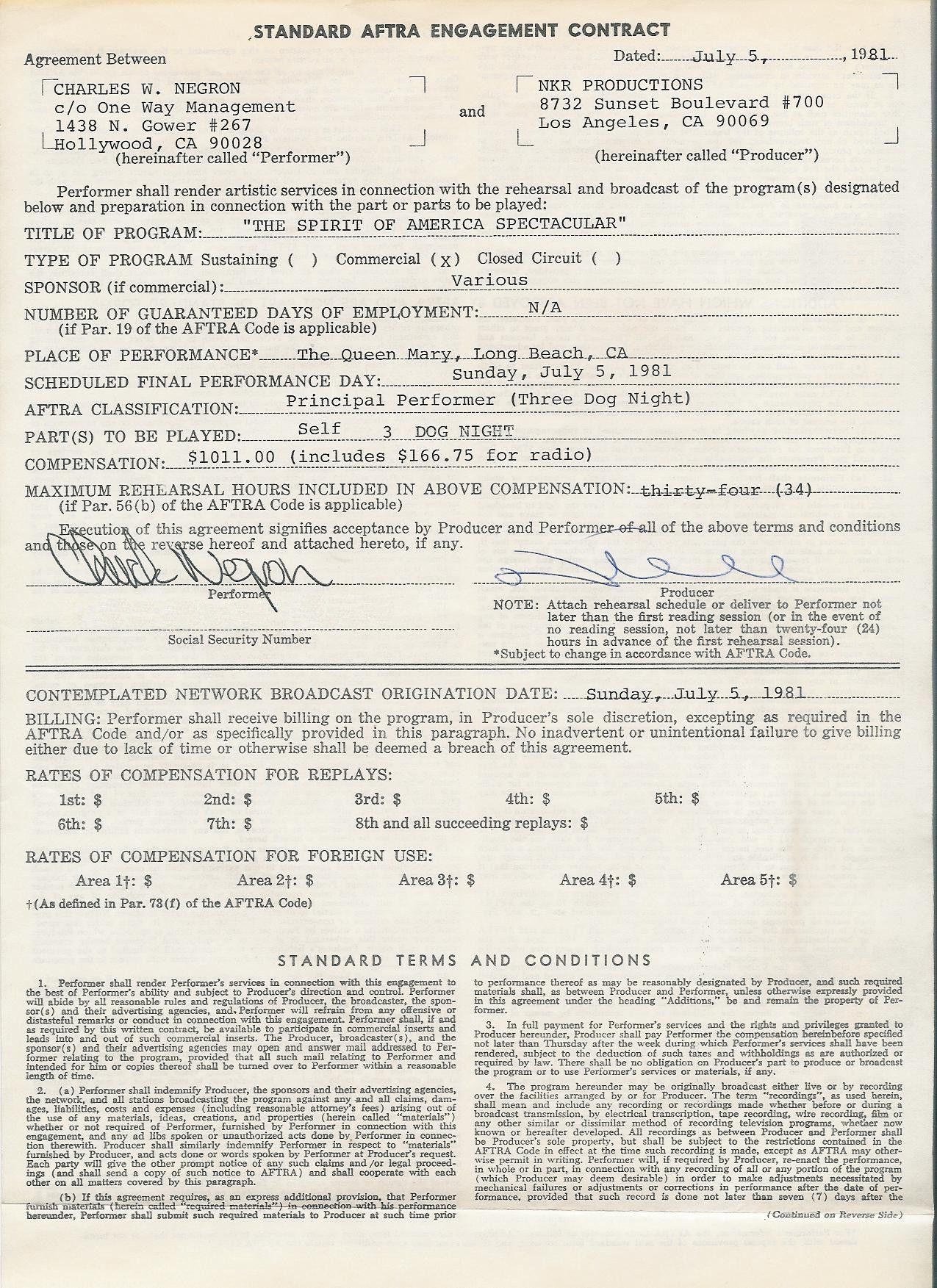 Chuck Negron Contract Page 1