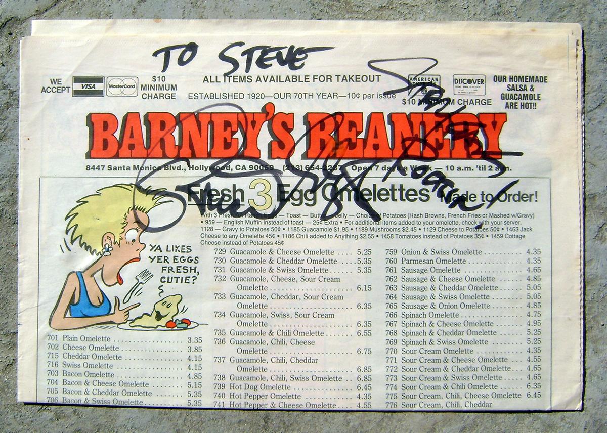 Barney's Beanery Menu - Brian Setzer